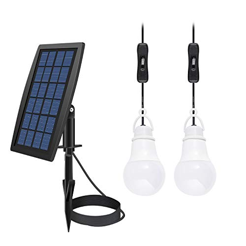 FEIFEIER Solar Power LED Bulb Lamp Solar Shed Light/Solar Barn Light (2 Led Bulbs)