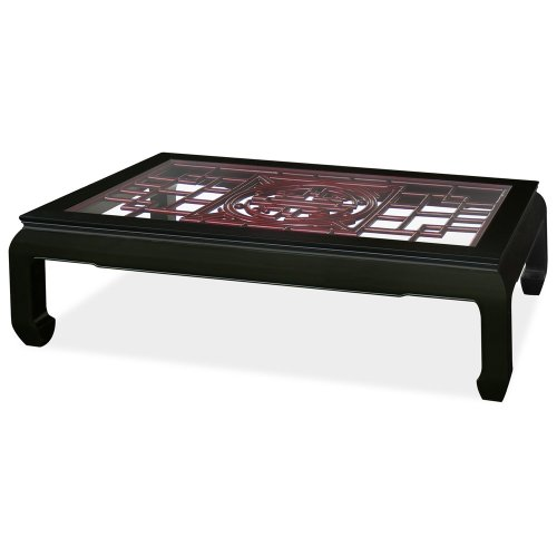 Rosewood Furniture China - China Furniture Online Rosewood Coffee Table, Ming Style Open Longevity Emblem Carving with Glass Top Two Tone Table Dark Cherry and Black Ebony Finish