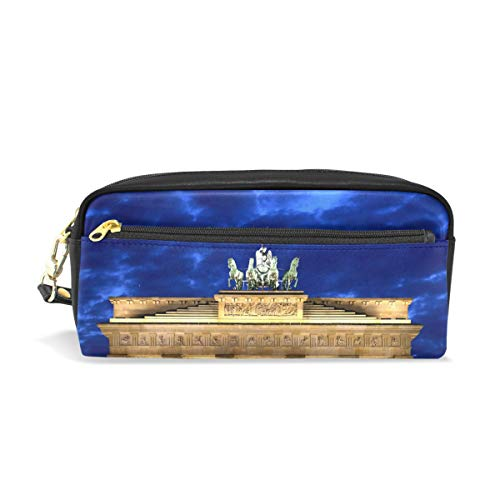 Leather Pencil Bag Case White Greek Site Under Cloudy Sky Pen Bag Cosmetic Makeup Bag