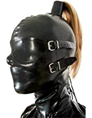 SM Latex Mask High Ponytail, Removable Eyes and Mouth Mask, Erotic Restrictions Fetish, Suitable for Party Cosplay