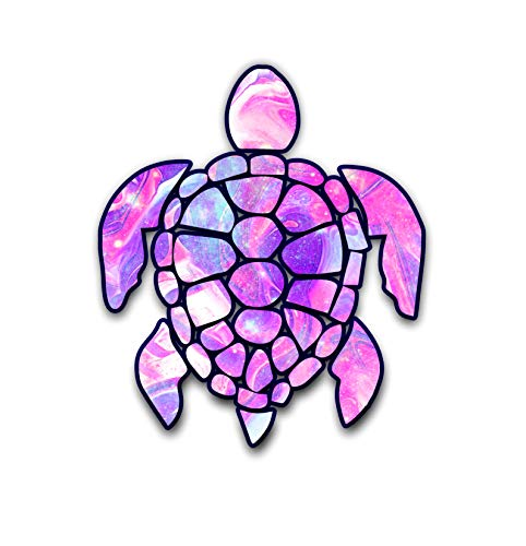 Vinyl Junkie Graphics 3 inch Sea Turtle Sticker for Laptops CupsTumblers Cars and Trucks Any Smooth Surface (Pink Galaxy) -