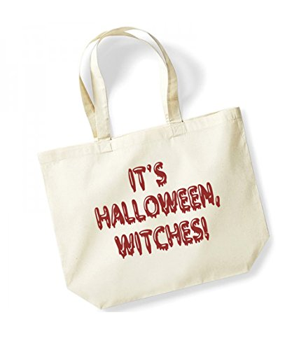It's Halloween, Witches! - Large Canvas Fun Slogan Tote Bag Natural/Red