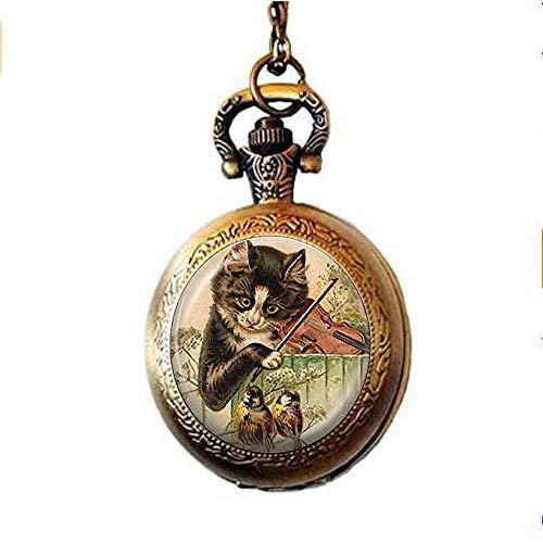 Cat Pocket Watch Necklace Music Jewelry Bird Pocket Watch Necklace, Kitty Playing Violin Animal Pocket Watch Necklace,Handmade Jewelry Gift ()