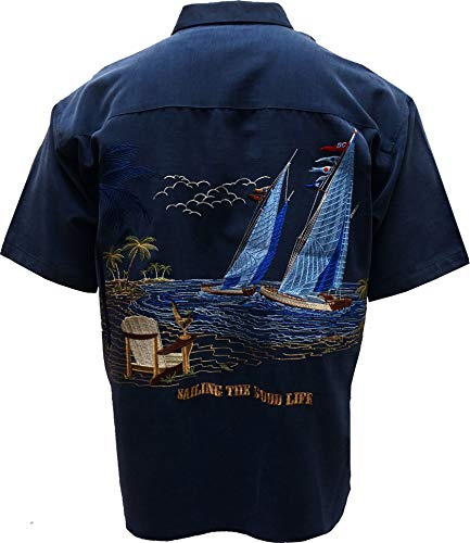 Bamboo Cay Mens Sailing The Good Life, Button Front Embroidered Camp Shirt (Medium, Navy) - Embroidered Button Shirt