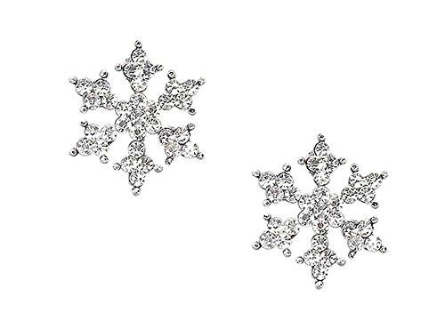 Sparkling Crystal Silver Tone Snowflake Stud Earrings Winter Bridal Prom Fashion (Winter Jewelry)