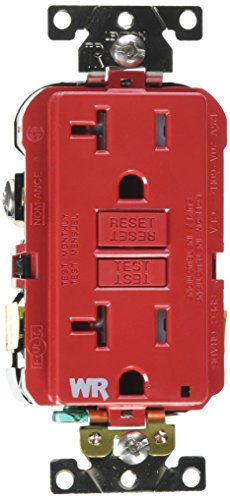 - Leviton G5362-WTR 20A-125V Extra-Heavy Duty Industrial Grade Weather/Tamper-Resistant Duplex Self-Test GFCI Receptacle, Red, 20-Amp