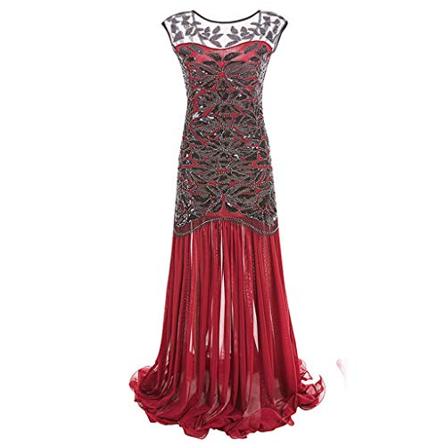 Women's Elegant Evening Dress Sequined Inspired Sequins Beads Long Tassel See-Through Vintage Dress (S, Red) by KoLan Women Dress (Image #1)