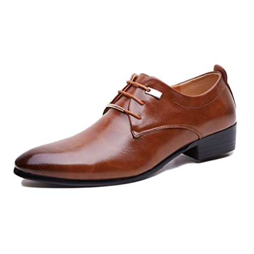 Homme Vintage Cuir Marron Oxford Lacets Vernis Mariage Derbies Noir Dressing Marron Brogue à Feidaeu Souliers Business Chaussures wq1gn