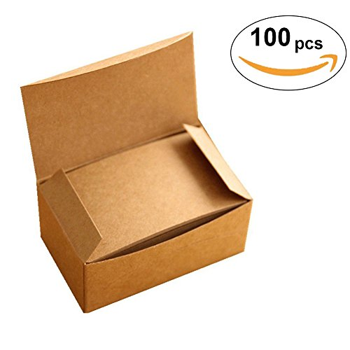 Brown Postcard (Message Cards, I-Choice Portable blank Postcards Kraft Paper Note Cards Message Cards Vocabulary Word Cards Mini DIY Cards( 100 pcs, Brown))