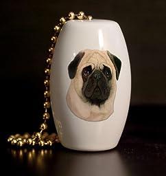 Pug Portrait Porcelain Fan / Light Pull