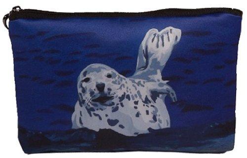 Seal Cosmetic Bag, Zip-top Closer - Taken From My Original Paintings (Seal - Playful Pup) - Playful Seal