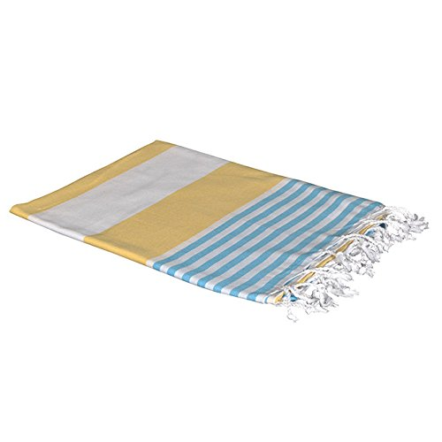 Birchwood Chaput's Boreas Style Turkish Beach Towel, Yellow/Blue by Birchwood (Image #1)