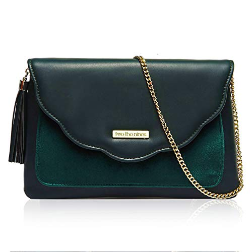 two the nines Womens Evening Bag Designer Envelope Clutches PU Leather, Blackish Green