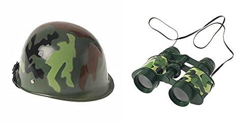 Novelty Treasures Child Size Camouflage Helmet & Toy Binoculars Army MILITARY Play Set Halloween Birthday Toys