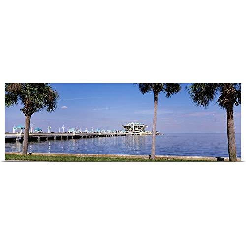 GREATBIGCANVAS Poster Print Entitled Florida, St. Petersburg, Pier Stretching into The Ocean by 36