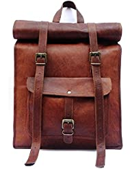 Mens Leather Vintage Roll On Laptop Backpack Rucksack One Size Brown