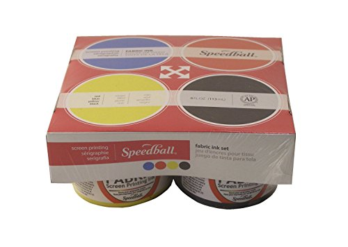Speedball Fabric Screen Printing Ink, 4 Ounces Jars, Set of 4