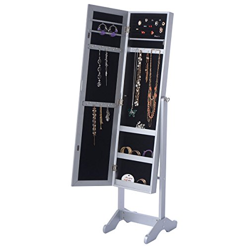 Mirrored Jewelry Cabinet Organizer Storage Box Stand Closet Hanging Women Gifts by Unknown