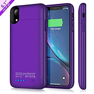 TAYUZH Battery Case for iPhone XR, 4000mAh Ultra-Slim Protective Portable Charging Case Compatible for iPhone XR Magnetic Battery Case Rechargeable Charger Case - Support Wired Headphones (Purple)
