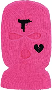 Uzi Broken Heart 3HOLE Ski Mask Hot Pink