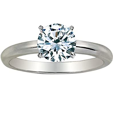 bb1917f2a 1/4 Carat Round Cut Diamond Solitaire Engagement Ring 14K White Gold 4  Prong (