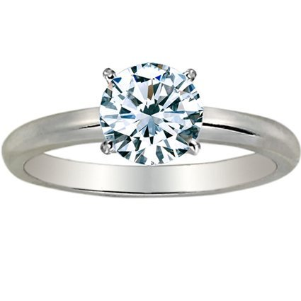 Near 1/2 Carat Round Cut Diamond Solitaire Engagement Ring 14K White Gold 4 Prong (G-H, I2, 0.45 c.t.w) Very Good Cut ()