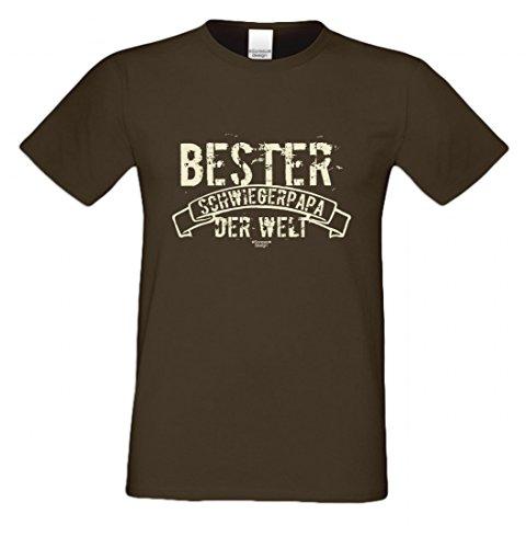 T-Shirt als Geschenk für den Vater - Bester Schwiegerpapa der Welt - Ein Danke für den Papa mit Humor zum Vatertag oder einfach so, Größe 3XL Farbe 09-Braun