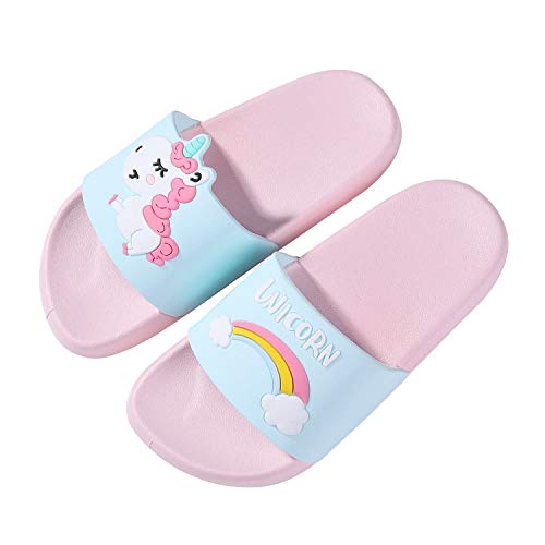 Boys Girls Slide Sandals Kids Outdoor Beach Pool Sandal Soft Unicorn Bath Slippers (Toddler/Little Kid) Pink 30 -