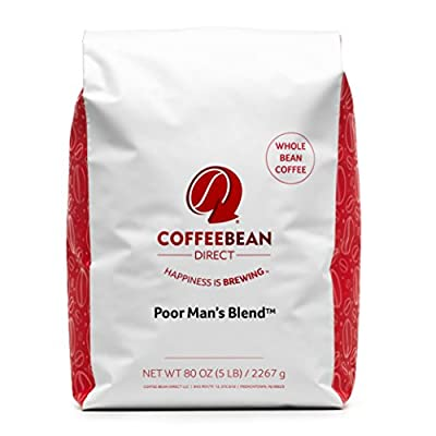 Coffee Bean Direct Poor Man's Blend Coffee, Medium Roast, Whole Bean, 5 Pound