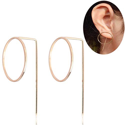 Hoop Circle Dangle Gold Earrings - YIFEI 2018 NEW Design Geometric Minimalist Fashion Round Unique Simple Bar Stud Earrings Clips For Womens/Girls
