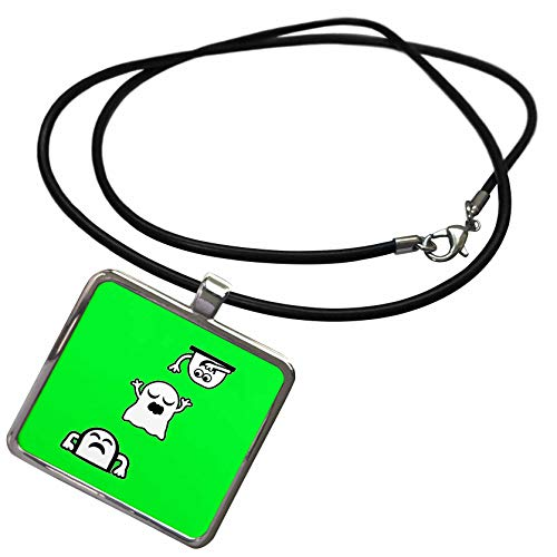 (3dRose BlakCircleGirl - Halloween - Peek-A-Boos - Little ghosties Having Some Fun. - Necklace with Rectangle Pendant)