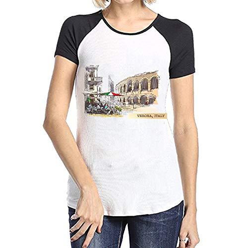 (Women Casual T Shirt Verona Drawing Sketch Italy Summer Tees Short Sleeve Tops)