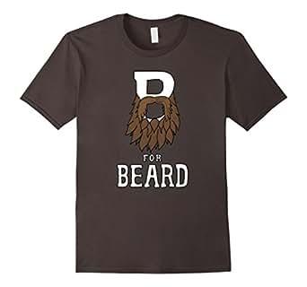 Men's B for Beard | Funny Men's Facial Hair Humor T-Shirt 3XL Asphalt