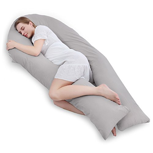 Meiz Full Body Pregnancy Pillow - with 300TC Comfy Cotton Pillowcase & Microfiber Inner Cover- for Back Support - King Size (Grey)