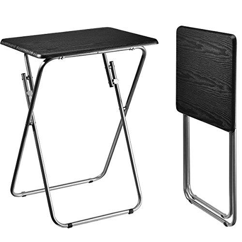Aingoo Folding TV Trays 2 Pcs Small Snack Metal Dinner Tray Side Table (Updatecd Wood Veneer) ()