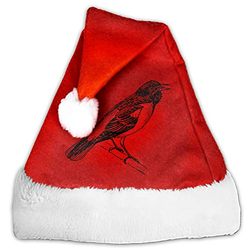 1 Pack Oriole Baltimore Bird Tree Branched Singing Santa Hat Adult/Kid Size Winter Plush New Years Xmas Christmas Party Santa Hats Cap