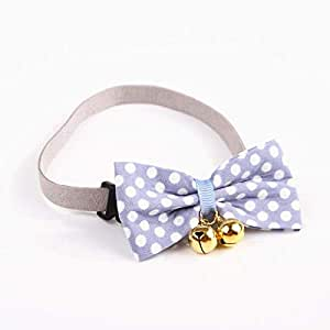 Adjustable Pet Bowtie Small Dog Collar with Bell Charm Blue
