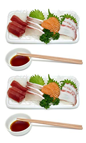 - Ceramic Sushi Platter Dish Tray Japanese Dinner Set with Chopsticks and Soy Sauce Dish Set for Two