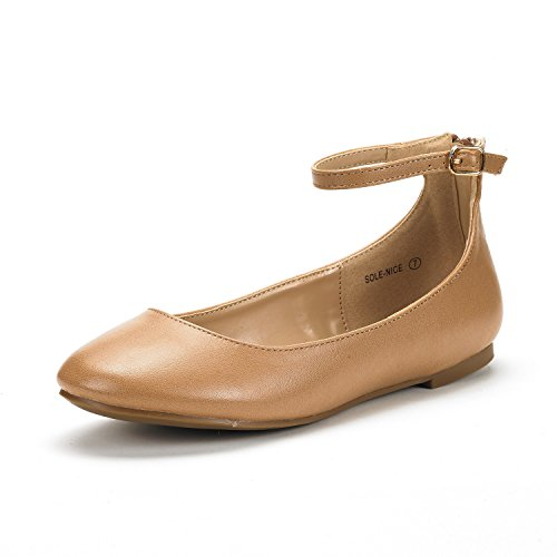Casual Ballerina - DREAM PAIRS Women's Sole-Nice Nude Pu Ankle Strap Walking Flats Shoes - 7.5 M US