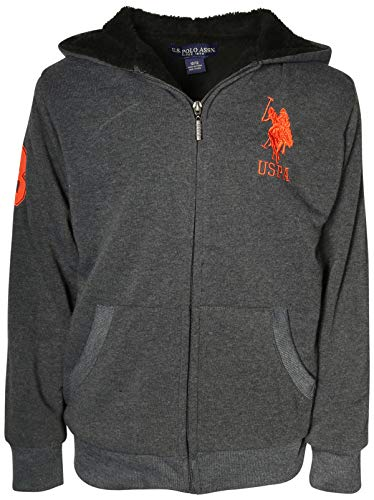 (U.S. Polo Assn. Boys Sherpa Lined Hoodie Sweatshirt, Dark Heather Grey with Logo, Size 14/16')