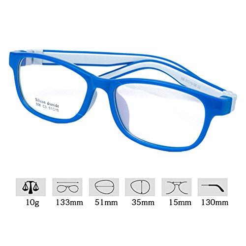 Filles Garçons Lunettes - Silicone - Verres à lentilles transparentes Cadre Geek / Nerd Eyewear Lunettes avec boîtier en forme de voiture - hibote Bleu