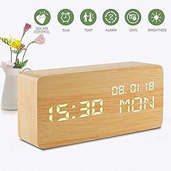 Led Digital Analog Alarm Clocks, Wooden Travel Clock with Time/Date/Week/Temperature/USB Desk Shelf Clocks, Sound Control 3 Levels Brightness 3 Loud Alarm for Heavy Sleepers Bedrooms Kids Girls Teens