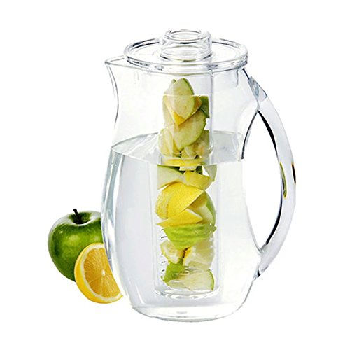 1 Fruit   Tea Infusion Pitcher Jug With 2 Inserts For Fruit And Ice Enhances Water   Perfect For Detox