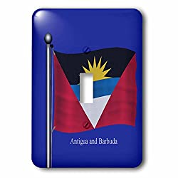 3dRose LSP_63226_1 The Flag of Antigua and Barbuda Waving on a Blue Background Single Toggle Switch