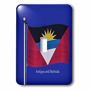 3dRose LSP_63226_1 La bandera de Antigua y Barbuda ondeando en un fondo azul interruptor de palanca único