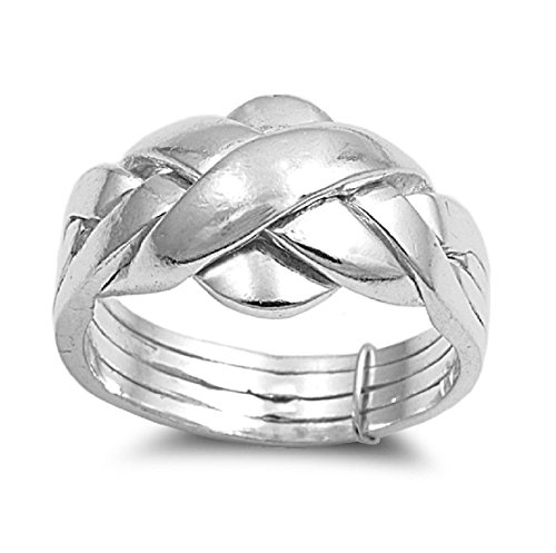 925 Sterling Silver Braided Puzzle Design Ring Size 8 (Sterling Ring Silver 925 Puzzle)