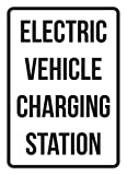 Electric Vehicle Charging Station No Parking Business Safety Traffic Signs Black - 7.5x10.5 - Plastic