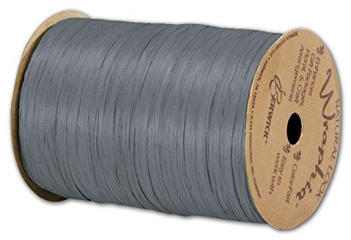 Solid Raffia - Matte Wraphia Charcoal Ribbon, 1/4