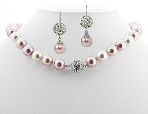 Formal Pink Mauve White Color Pearl Necklace & Matching Earring - Pink Bridesmaid Jewelry SET