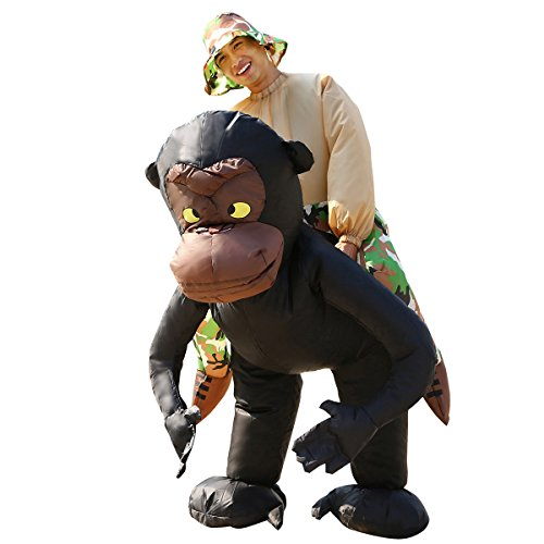 Fat Air Suit Costume (Inflatable Costume Carry Me Chimpanzee Piggyback Adult Fancy Dress Animal Outfit)
